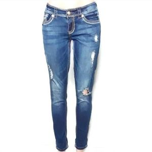 Seven7 Skinny Mid Rise Ripped Distressed Jeans